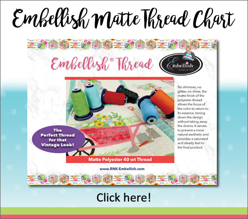 Embellish Matte Thread Chart, Click Here