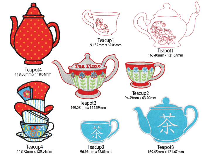 Cup of Tea Embroidery Designs