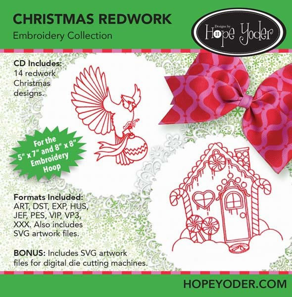 Christmas Redwork Embroidery Collection