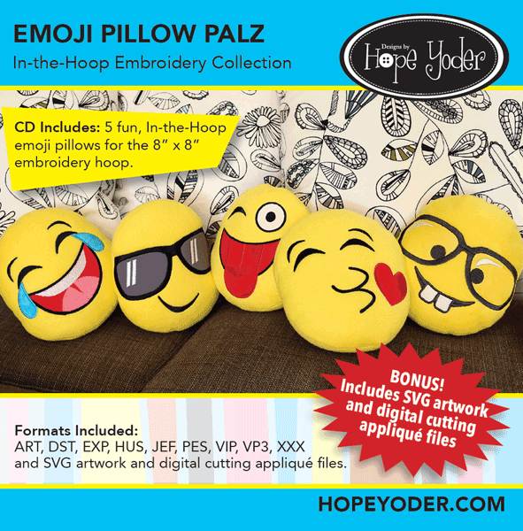 Emoji Pillow Palz In-the-Hoop Embroidery Collection