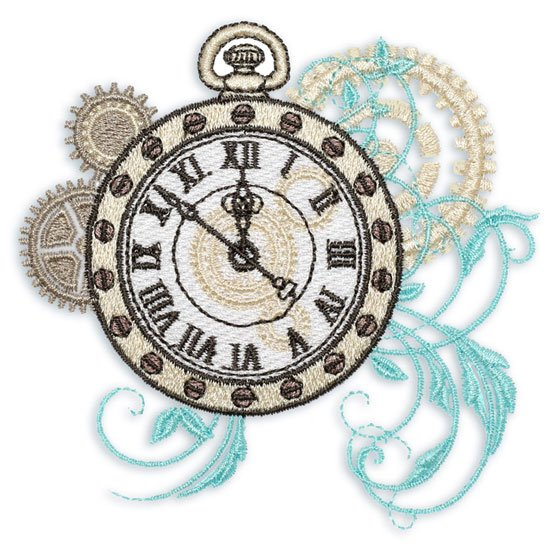 Steampunk'd Embroidered Clock