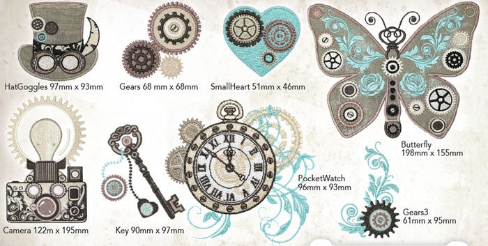 Steampunk'd Embroidery Designs